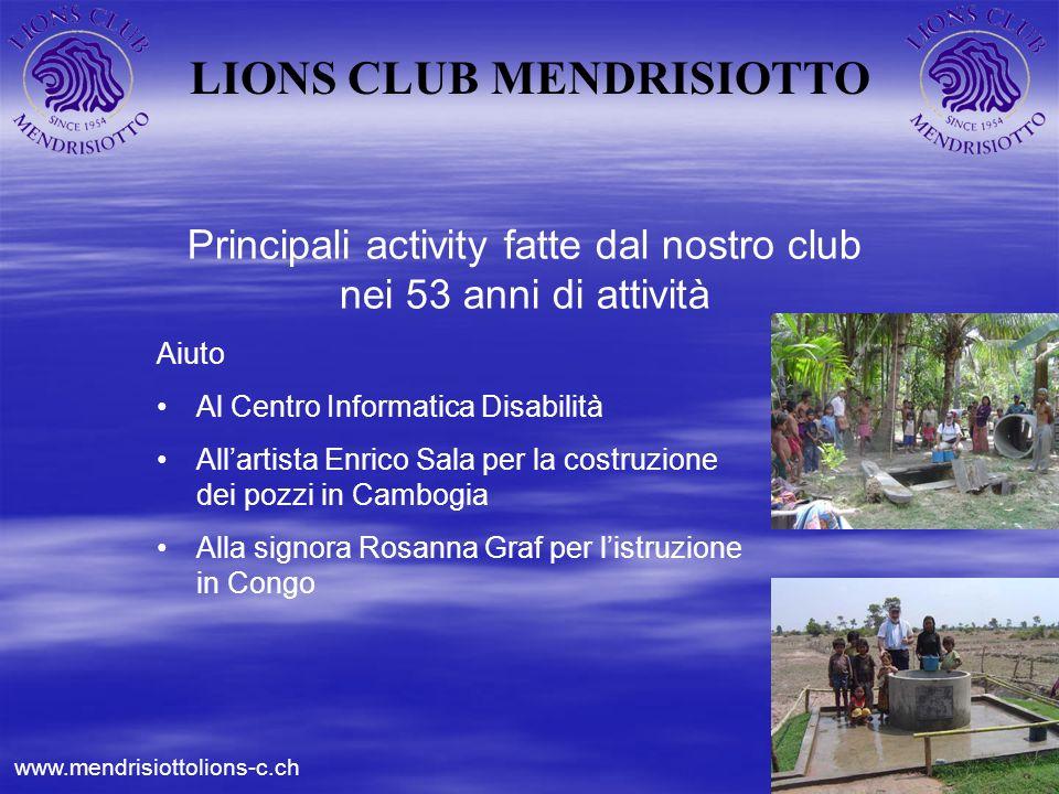 LIONS CLUB MENDRISIOTTO Principali activity fatte dal nostro club nei 53 anni di attività Aiuto Al Centro Informatica Disabilità Allartista Enrico Sal