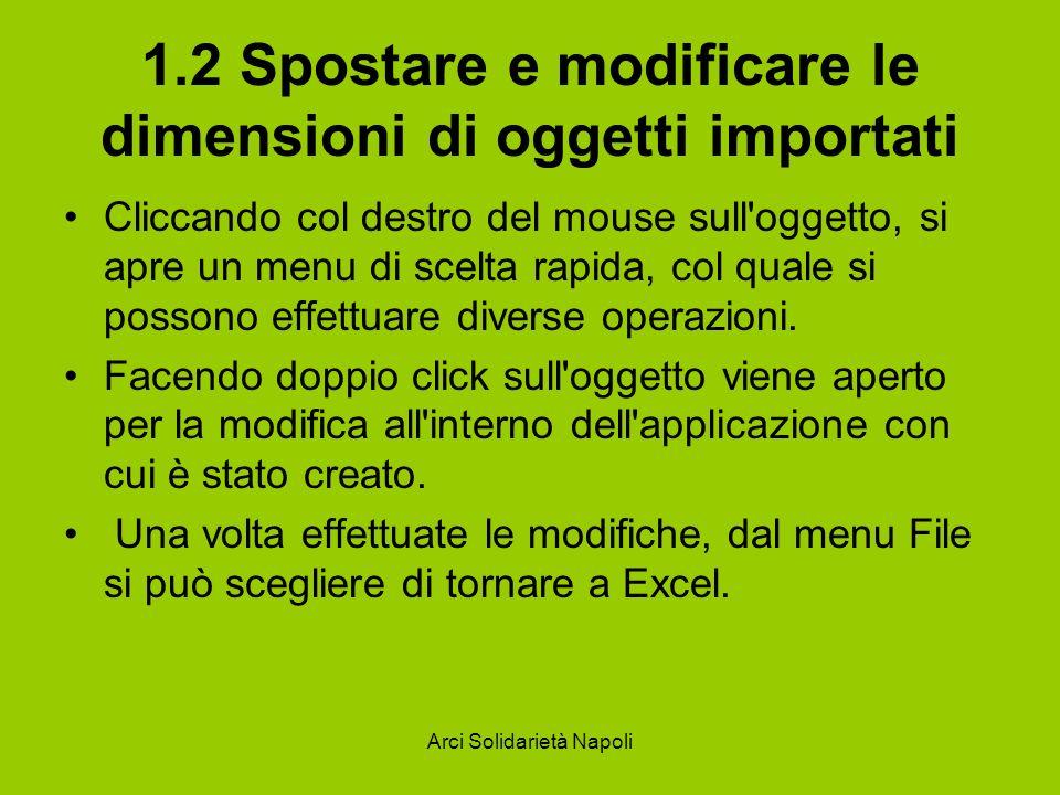 Arci Solidarietà Napoli 1.2 Spostare e modificare le dimensioni di oggetti importati Cliccando col destro del mouse sull'oggetto, si apre un menu di s
