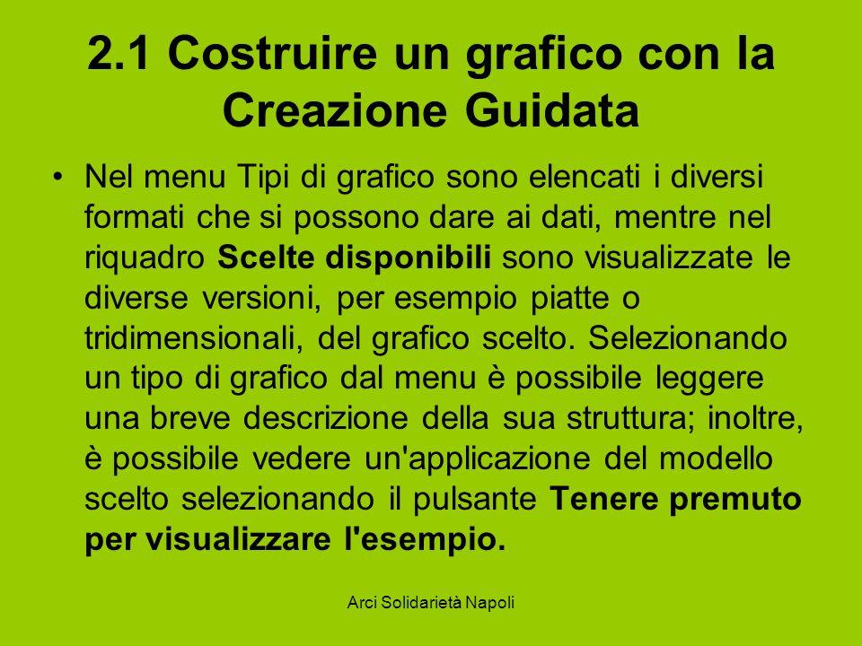 Arci Solidarietà Napoli 2.1 Costruire un grafico con la Creazione Guidata Nel menu Tipi di grafico sono elencati i diversi formati che si possono dare