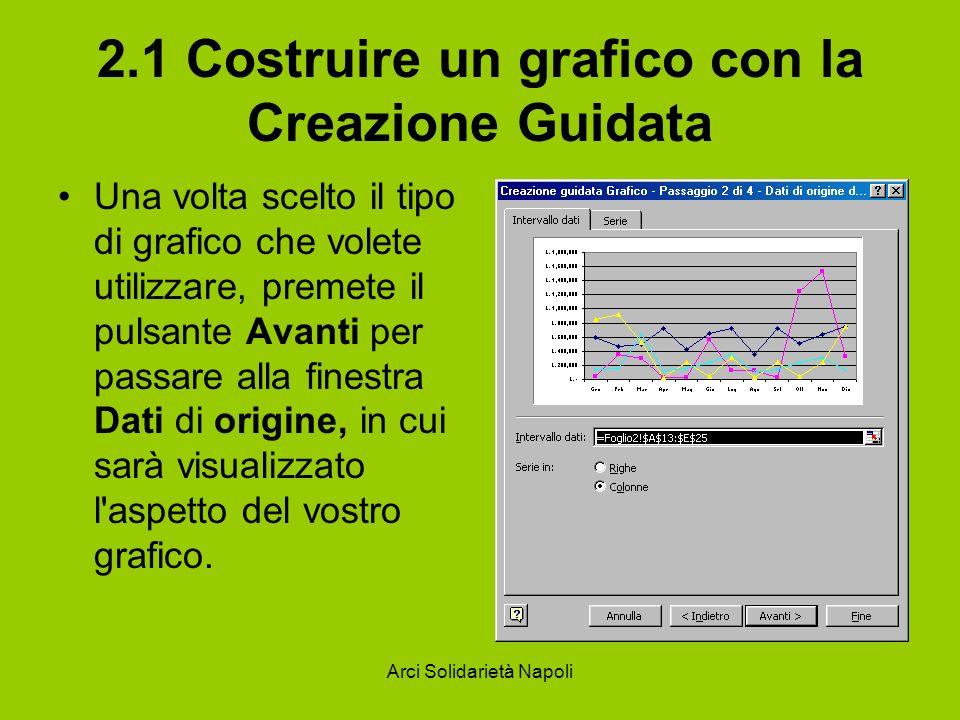Arci Solidarietà Napoli 2.1 Costruire un grafico con la Creazione Guidata Una volta scelto il tipo di grafico che volete utilizzare, premete il pulsan