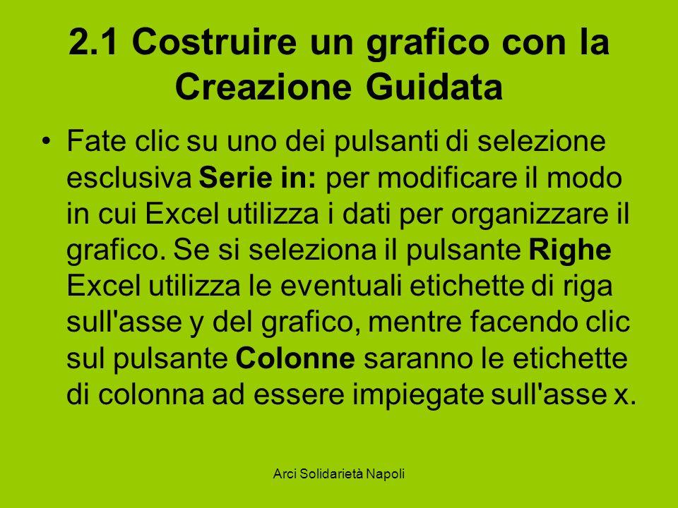 Arci Solidarietà Napoli 2.1 Costruire un grafico con la Creazione Guidata Fate clic su uno dei pulsanti di selezione esclusiva Serie in: per modificar