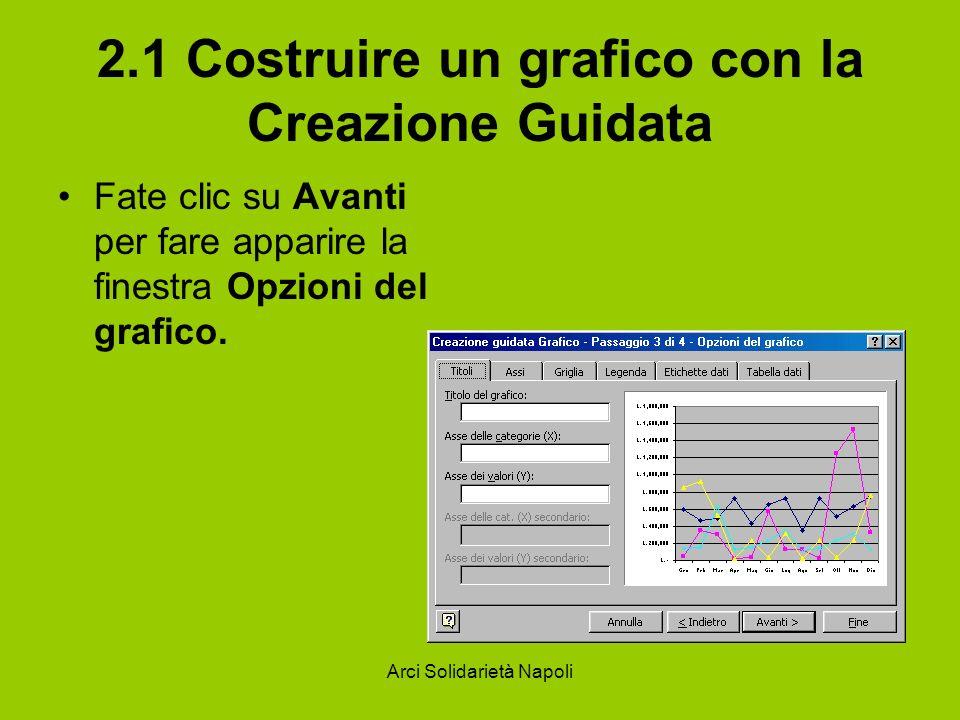 Arci Solidarietà Napoli 2.1 Costruire un grafico con la Creazione Guidata Fate clic su Avanti per fare apparire la finestra Opzioni del grafico.