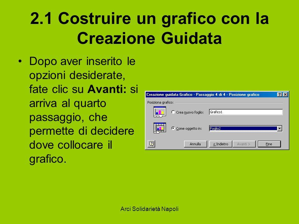 Arci Solidarietà Napoli 2.1 Costruire un grafico con la Creazione Guidata Dopo aver inserito le opzioni desiderate, fate clic su Avanti: si arriva al