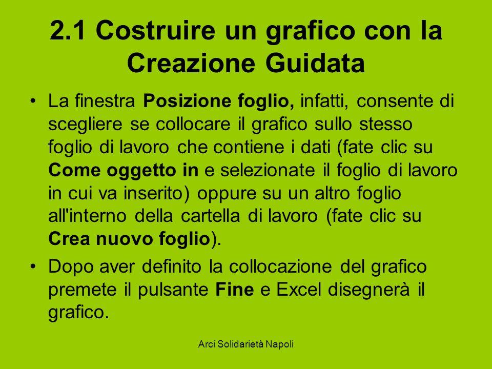 Arci Solidarietà Napoli 2.1 Costruire un grafico con la Creazione Guidata La finestra Posizione foglio, infatti, consente di scegliere se collocare il