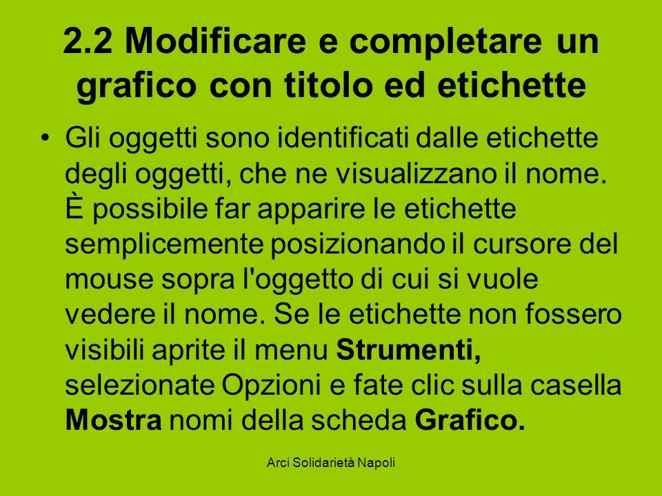 Arci Solidarietà Napoli 2.2 Modificare e completare un grafico con titolo ed etichette Gli oggetti sono identificati dalle etichette degli oggetti, ch