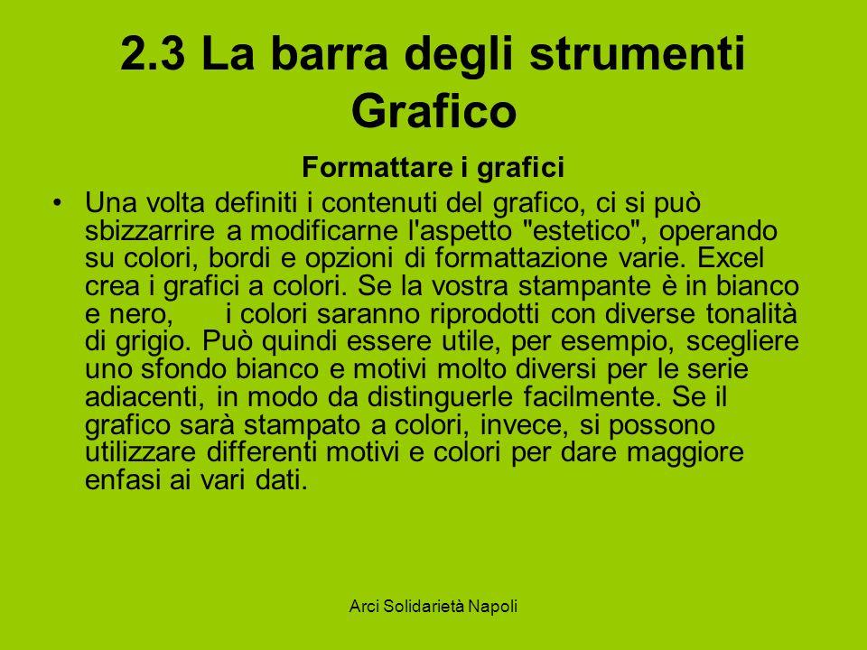 Arci Solidarietà Napoli 2.3 La barra degli strumenti Grafico Formattare i grafici Una volta definiti i contenuti del grafico, ci si può sbizzarrire a