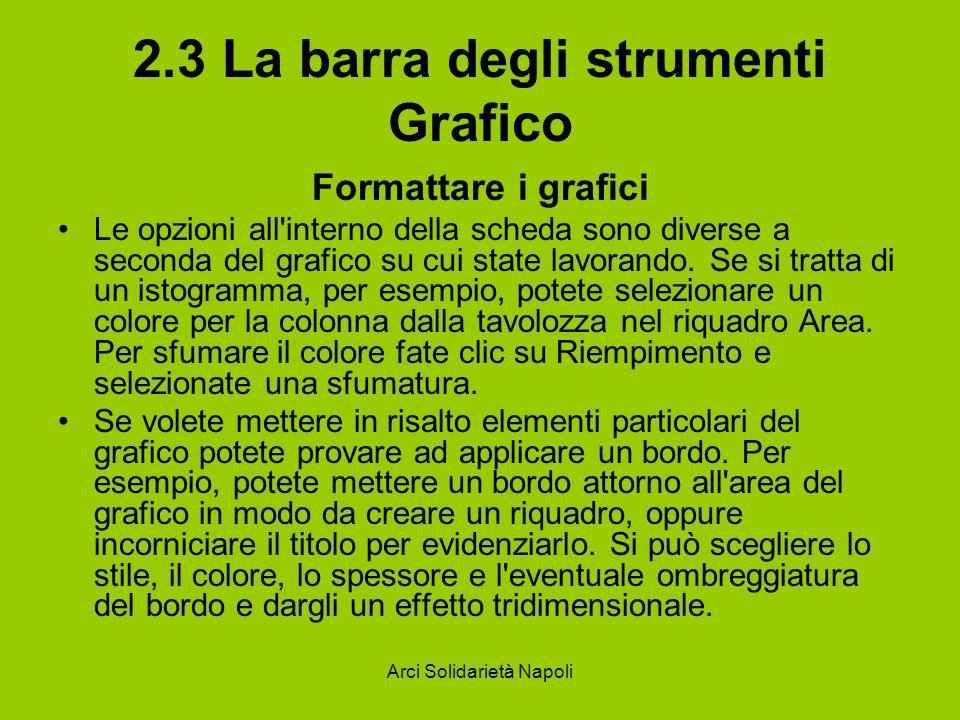 Arci Solidarietà Napoli 2.3 La barra degli strumenti Grafico Formattare i grafici Le opzioni all'interno della scheda sono diverse a seconda del grafi
