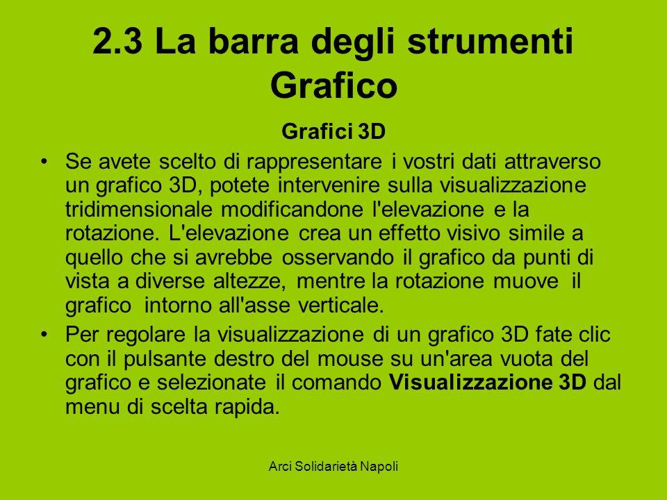 Arci Solidarietà Napoli 2.3 La barra degli strumenti Grafico Grafici 3D Se avete scelto di rappresentare i vostri dati attraverso un grafico 3D, potet