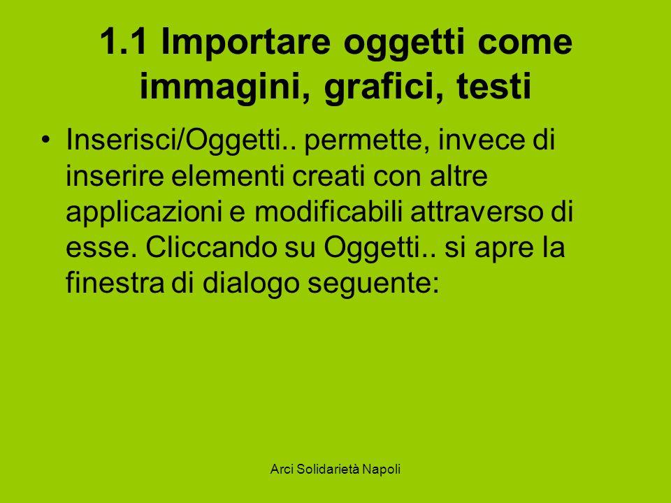 Arci Solidarietà Napoli 1.1 Importare oggetti come immagini, grafici, testi Inserisci/Oggetti.. permette, invece di inserire elementi creati con altre