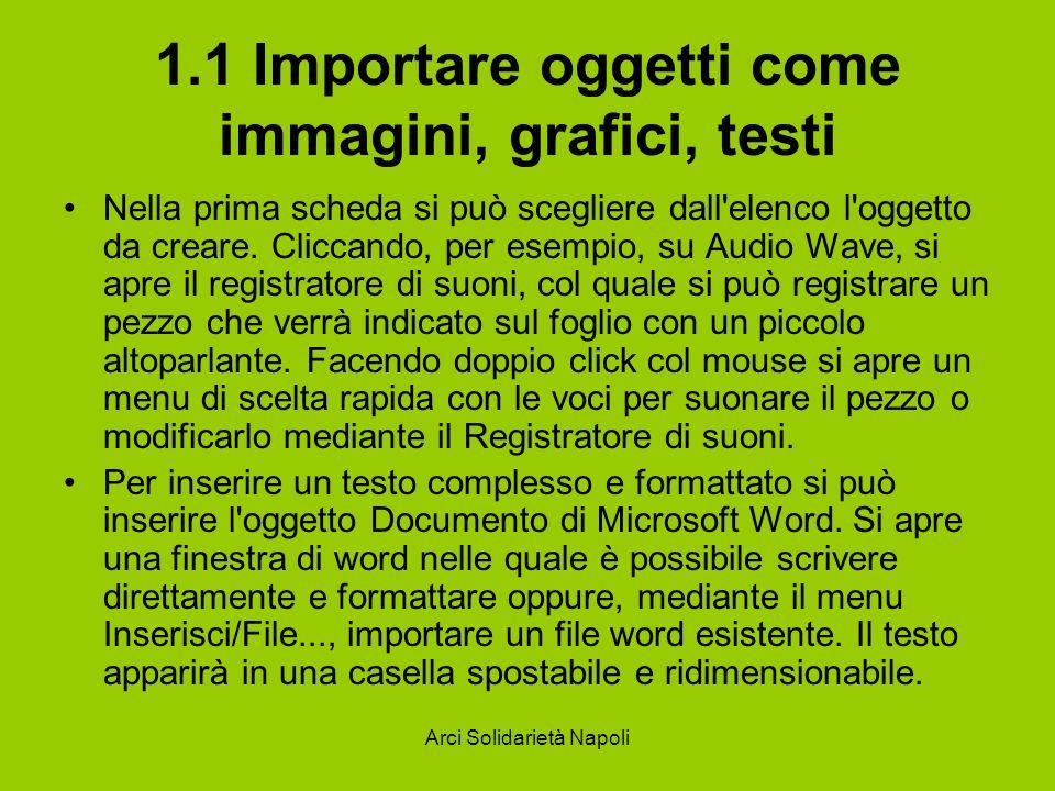 Arci Solidarietà Napoli 1.1 Importare oggetti come immagini, grafici, testi Nella prima scheda si può scegliere dall'elenco l'oggetto da creare. Clicc