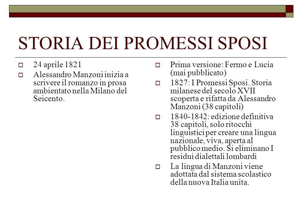 STORIA DEI PROMESSI SPOSI 24 aprile 1821 Alessandro Manzoni inizia a scrivere il romanzo in prosa ambientato nella Milano del Seicento. Prima versione