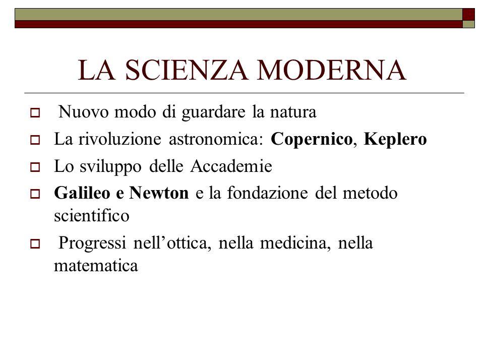 LA SCIENZA MODERNA Nuovo modo di guardare la natura La rivoluzione astronomica: Copernico, Keplero Lo sviluppo delle Accademie Galileo e Newton e la f