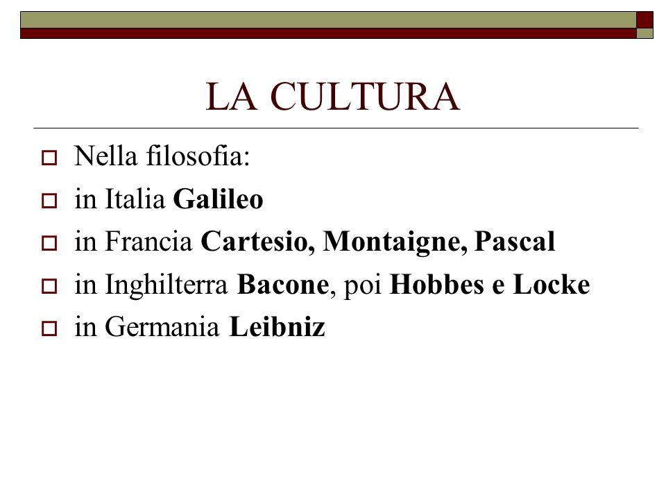 LA CULTURA Nella filosofia: in Italia Galileo in Francia Cartesio, Montaigne, Pascal in Inghilterra Bacone, poi Hobbes e Locke in Germania Leibniz