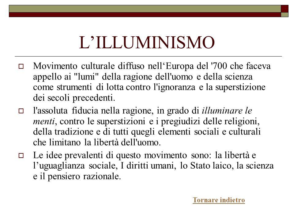 LILLUMINISMO Movimento culturale diffuso nellEuropa del '700 che faceva appello ai