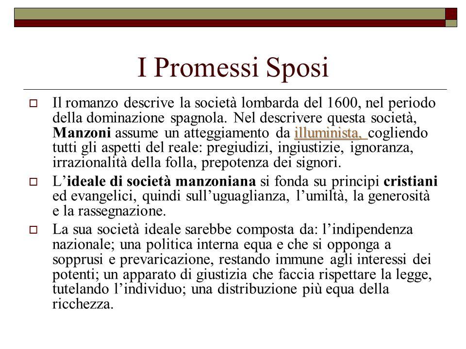 I Promessi Sposi illuminista illuminista Il romanzo descrive la società lombarda del 1600, nel periodo della dominazione spagnola. Nel descrivere ques