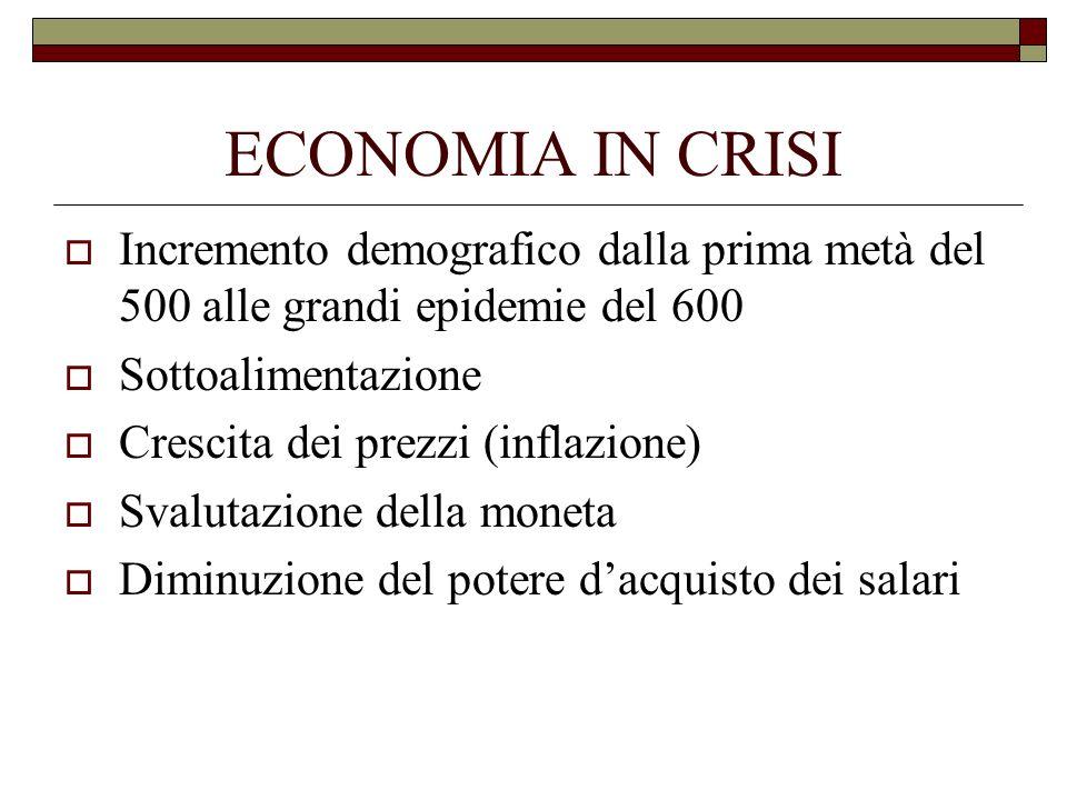 ECONOMIA IN CRISI Incremento demografico dalla prima metà del 500 alle grandi epidemie del 600 Sottoalimentazione Crescita dei prezzi (inflazione) Sva
