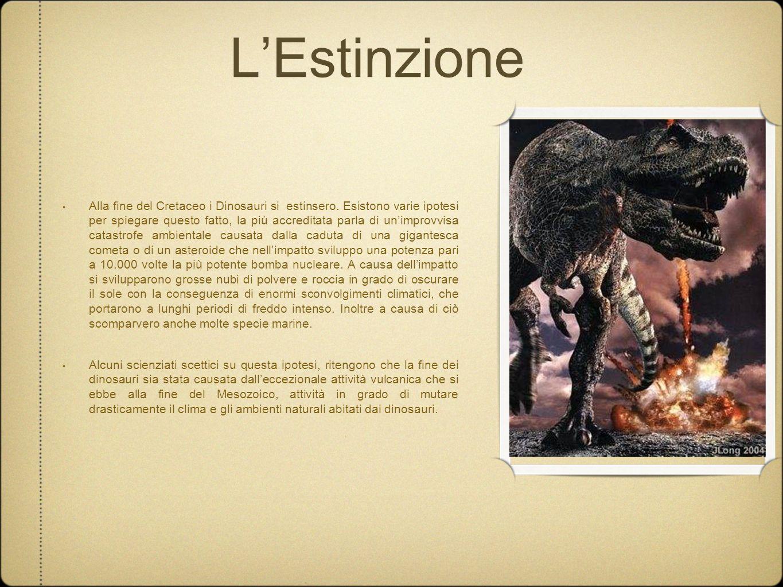 LEstinzione Alla fine del Cretaceo i Dinosauri si estinsero. Esistono varie ipotesi per spiegare questo fatto, la più accreditata parla di unimprovvis