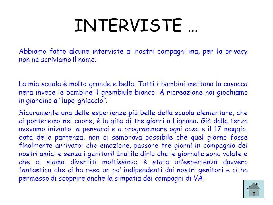 INTERVISTE … Abbiamo fatto alcune interviste ai nostri compagni ma, per la privacy non ne scriviamo il nome. La mia scuola è molto grande e bella. Tut