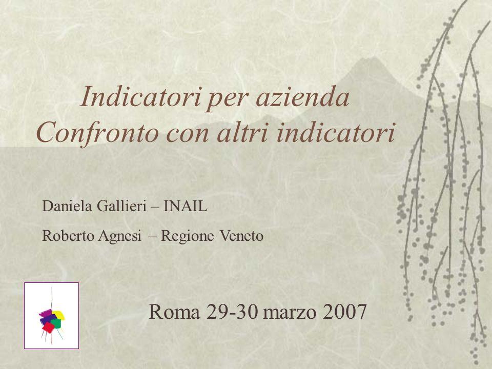 Indicatori per azienda Confronto con altri indicatori Roma 29-30 marzo 2007 Daniela Gallieri – INAIL Roberto Agnesi – Regione Veneto