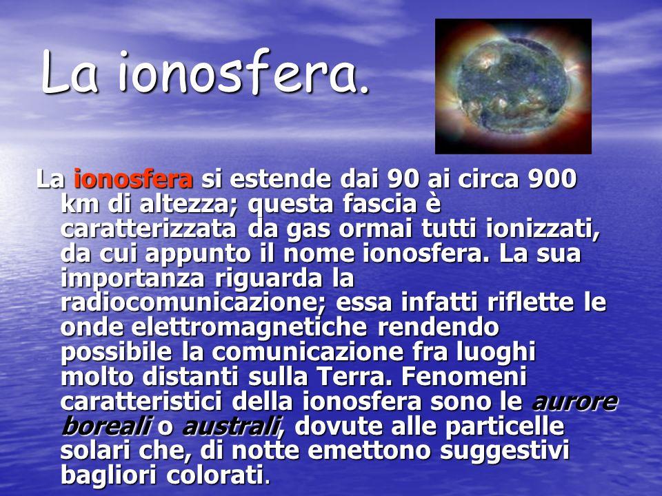 La mesosfera La mesosfera si estende fino ai 90 km di altezza, è composta da gas ancora più rarefatti e ha una temperatura molto bassa che arriva a ci