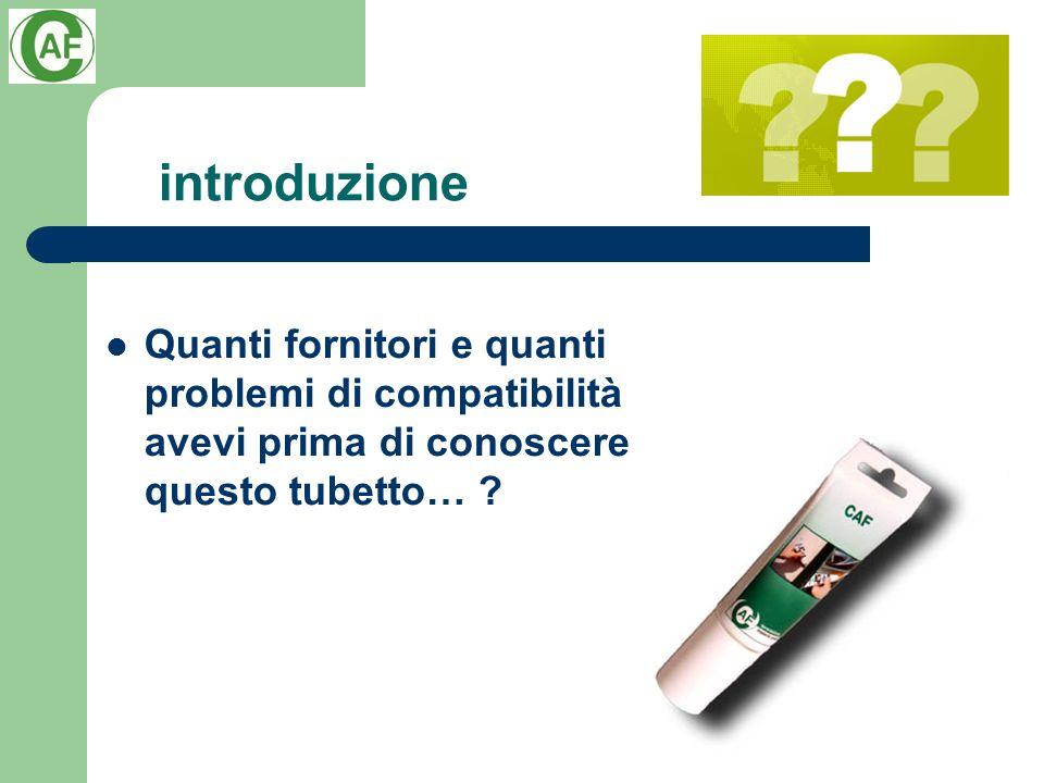 introduzione Quanti fornitori e quanti problemi di compatibilità avevi prima di conoscere questo tubetto… ?