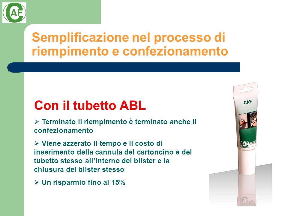 Semplificazione nel processo di riempimento e confezionamento Con il tubetto ABL Terminato il riempimento è terminato anche il confezionamento Viene a