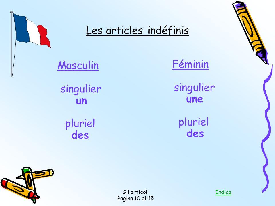 Indice Gli articoli Pagina 10 di 15 Les articles indéfinis Masculin singulier un pluriel des Féminin singulier une pluriel des