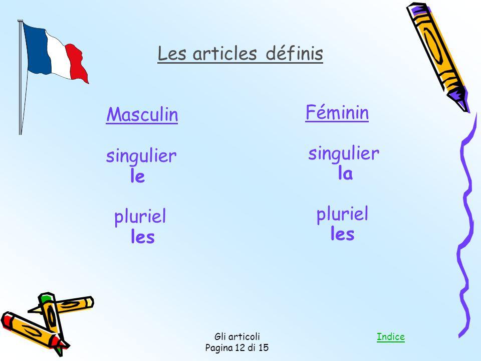 Indice Gli articoli Pagina 12 di 15 Les articles définis Masculin singulier le pluriel les Féminin singulier la pluriel les