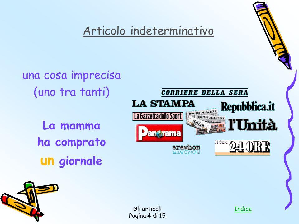 Indice Gli articoli Pagina 4 di 15 una cosa imprecisa (uno tra tanti) La mamma ha comprato un giornale Articolo indeterminativo