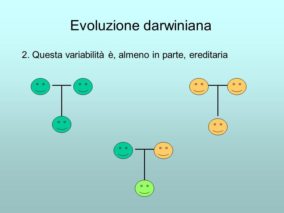Evoluzione darwiniana 2. Questa variabilità è, almeno in parte, ereditaria