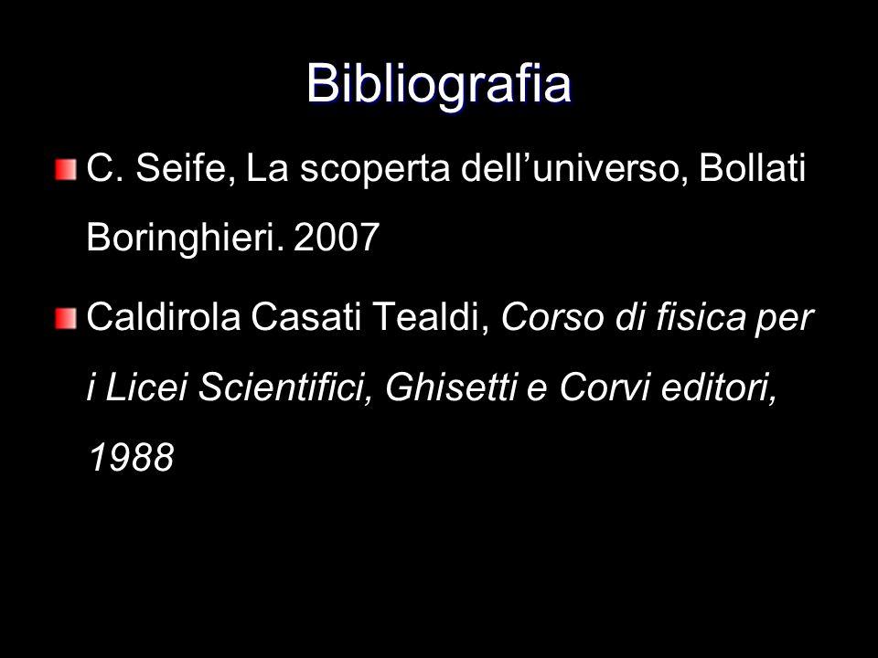 Bibliografia C. Seife, La scoperta delluniverso, Bollati Boringhieri. 2007 Caldirola Casati Tealdi, Corso di fisica per i Licei Scientifici, Ghisetti
