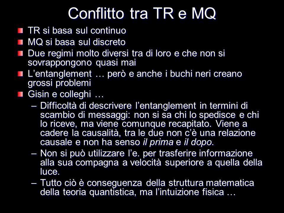 Conflitto tra TR e MQ TR si basa sul continuo MQ si basa sul discreto Due regimi molto diversi tra di loro e che non si sovrappongono quasi mai Lentan