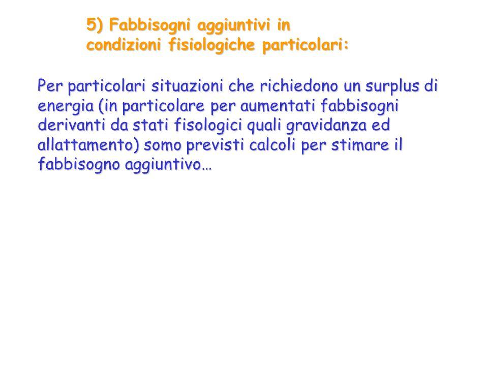 5) Fabbisogni aggiuntivi in condizioni fisiologiche particolari: Per particolari situazioni che richiedono un surplus di energia (in particolare per a