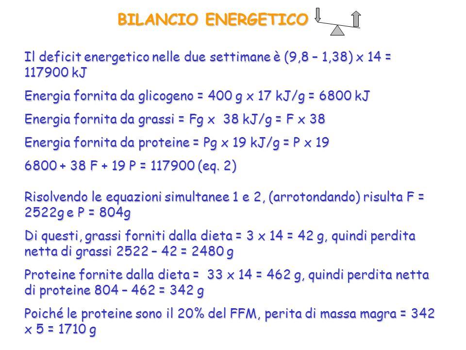 BILANCIO ENERGETICO Il deficit energetico nelle due settimane è (9,8 – 1,38) x 14 = 117900 kJ Risolvendo le equazioni simultanee 1 e 2, (arrotondando)