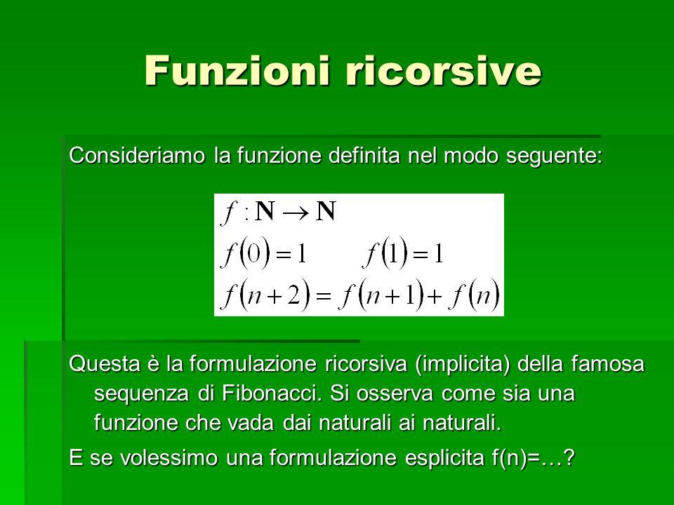 Funzioni ricorsive Consideriamo la funzione definita nel modo seguente: Questa è la formulazione ricorsiva (implicita) della famosa sequenza di Fibona