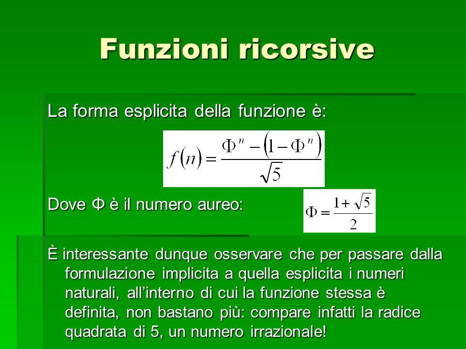 La forma esplicita della funzione è: Dove Φ è il numero aureo: È interessante dunque osservare che per passare dalla formulazione implicita a quella e