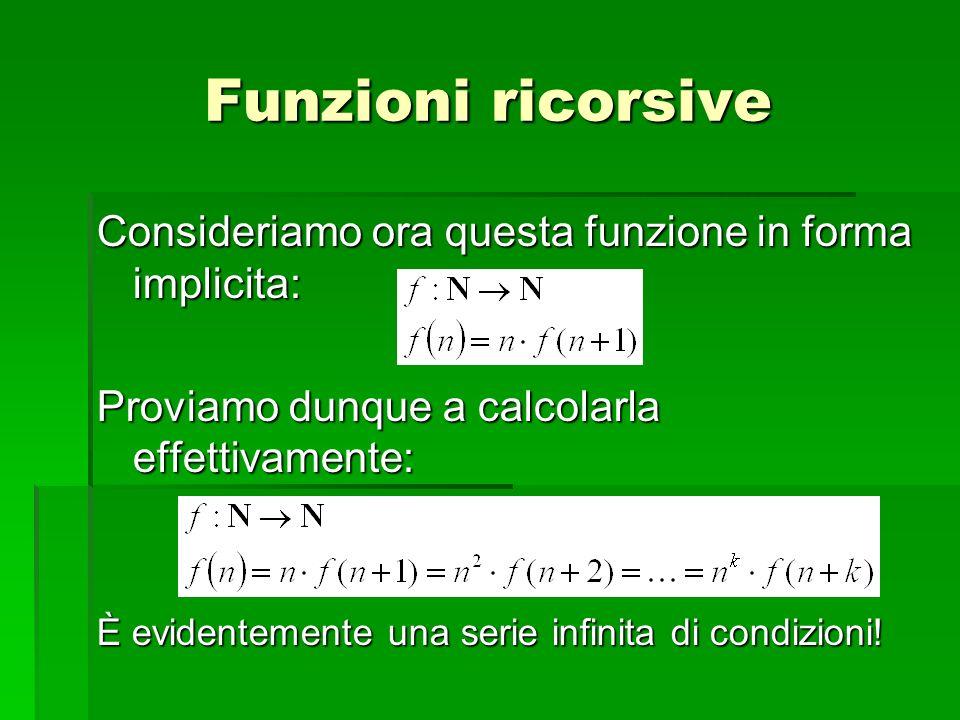 Consideriamo ora questa funzione in forma implicita: Proviamo dunque a calcolarla effettivamente: È evidentemente una serie infinita di condizioni! Fu