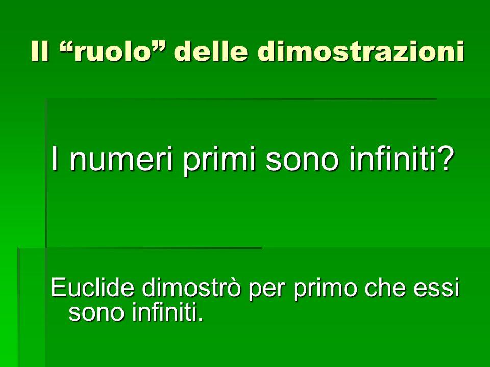 I numeri primi sono infiniti? Euclide dimostrò per primo che essi sono infiniti. Il ruolo delle dimostrazioni