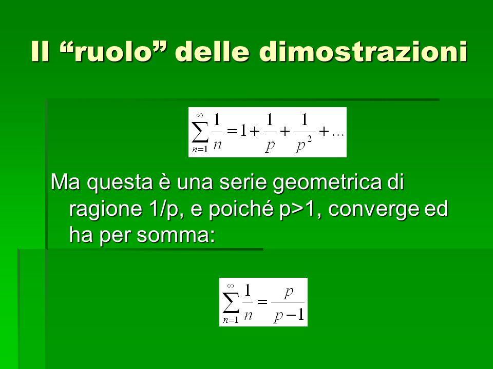 Ma questa è una serie geometrica di ragione 1/p, e poiché p>1, converge ed ha per somma: Il ruolo delle dimostrazioni