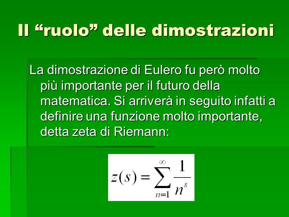 La dimostrazione di Eulero fu però molto più importante per il futuro della matematica. Si arriverà in seguito infatti a definire una funzione molto i