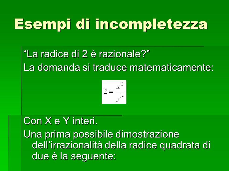 La radice di 2 è razionale? La domanda si traduce matematicamente: Con X e Y interi. Una prima possibile dimostrazione dellirrazionalità della radice