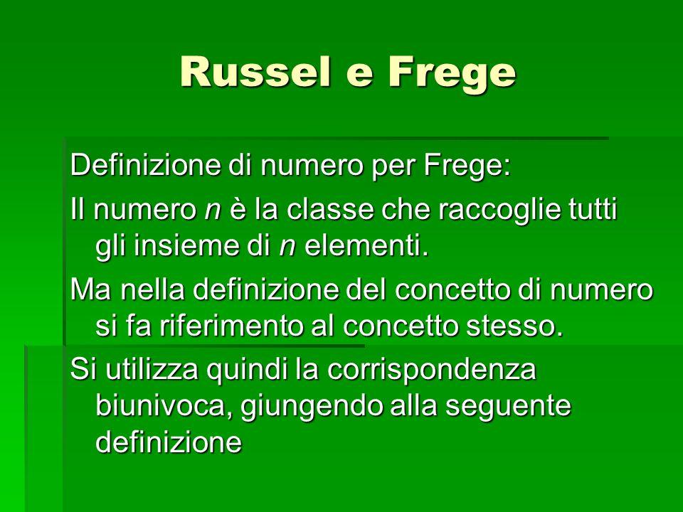 Definizione di numero per Frege: Il numero n è la classe che raccoglie tutti gli insieme di n elementi. Ma nella definizione del concetto di numero si