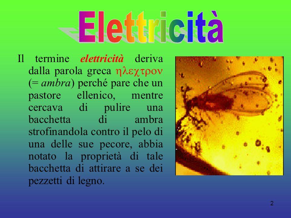 2 Il termine elettricità deriva dalla parola greca (= ambra) perché pare che un pastore ellenico, mentre cercava di pulire una bacchetta di ambra stro
