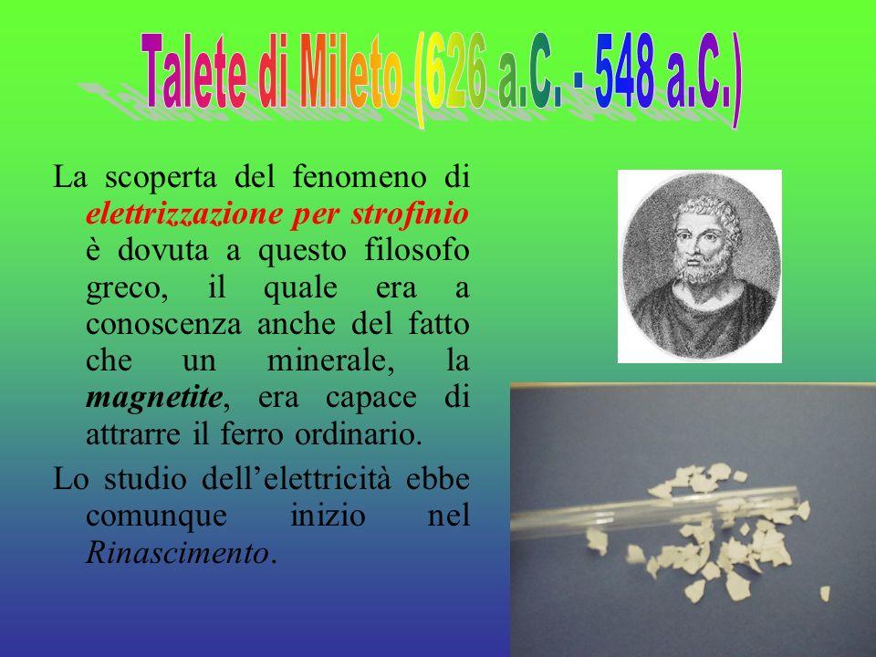 3 La scoperta del fenomeno di elettrizzazione per strofinio è dovuta a questo filosofo greco, il quale era a conoscenza anche del fatto che un mineral