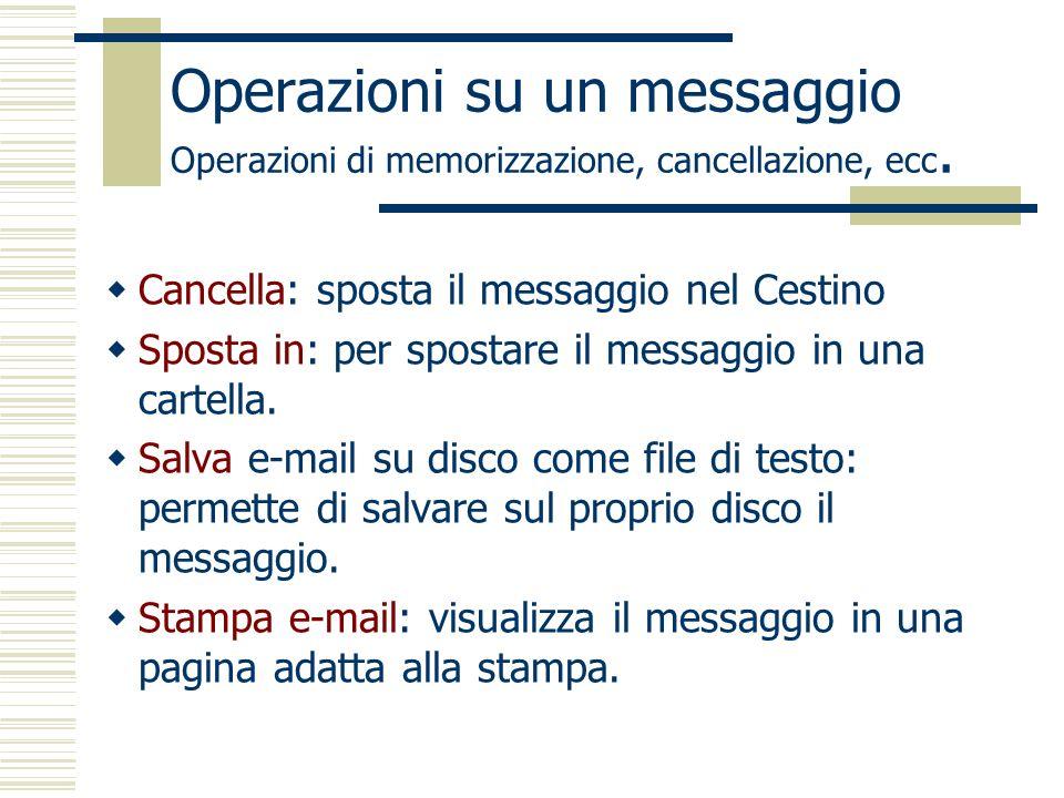 Operazioni su un messaggio Operazioni di memorizzazione, cancellazione, ecc.
