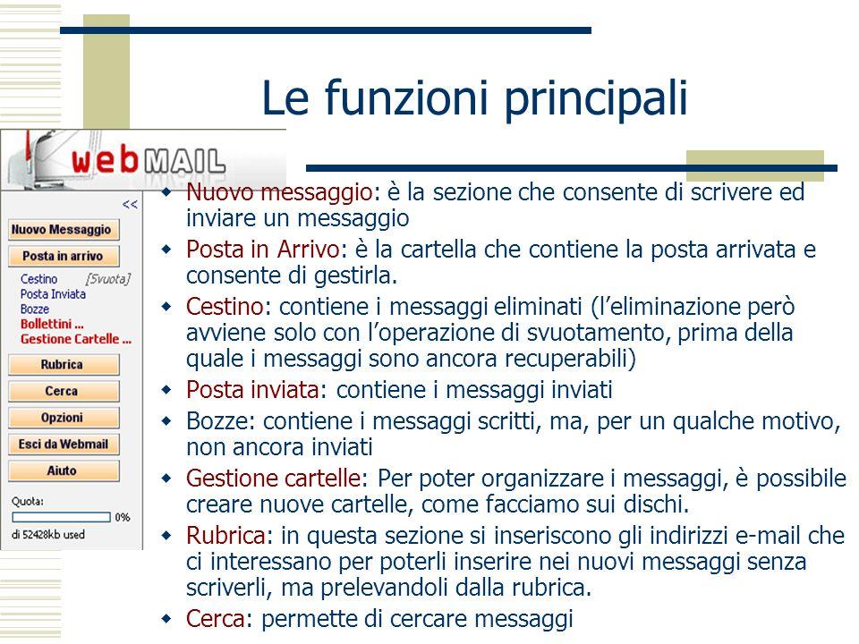 Le funzioni principali Nuovo messaggio: è la sezione che consente di scrivere ed inviare un messaggio Posta in Arrivo: è la cartella che contiene la posta arrivata e consente di gestirla.