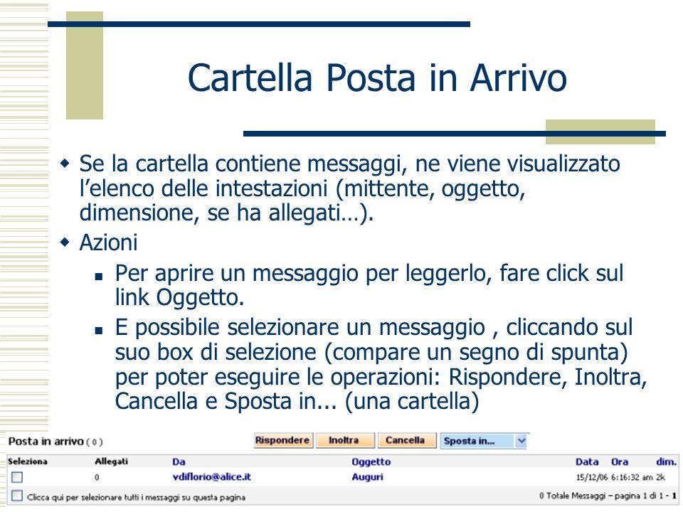 Cartella Posta in Arrivo Se la cartella contiene messaggi, ne viene visualizzato lelenco delle intestazioni (mittente, oggetto, dimensione, se ha allegati…).