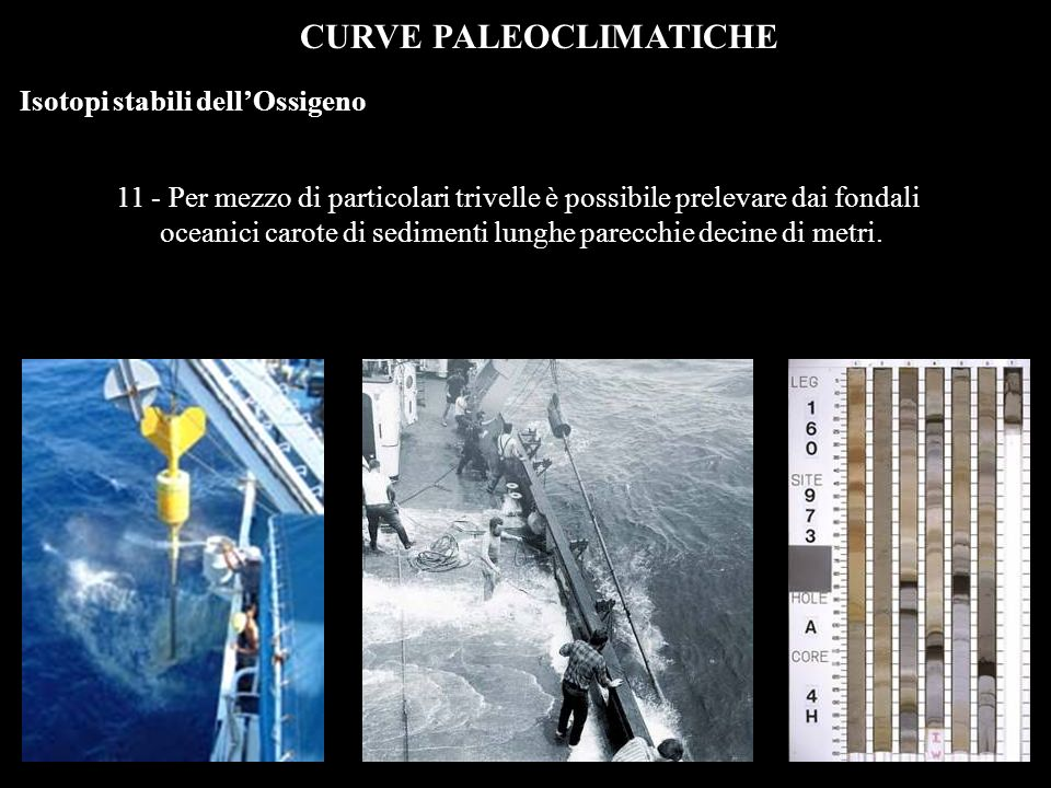 CURVE PALEOCLIMATICHE Isotopi stabili dellOssigeno 12 - Dalle carote si prelevano campioni di sedimento a distanza di pochi centimetri luno dallaltro, e da questi si estraggono i foraminiferi.