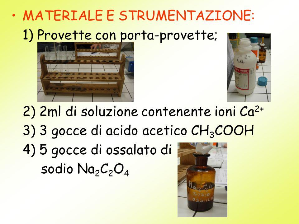 MATERIALE E STRUMENTAZIONE: 1) Provette con porta-provette; 2) 2ml di soluzione contenente ioni Ca 2+ 3) 3 gocce di acido acetico CH 3 COOH 4) 5 gocce