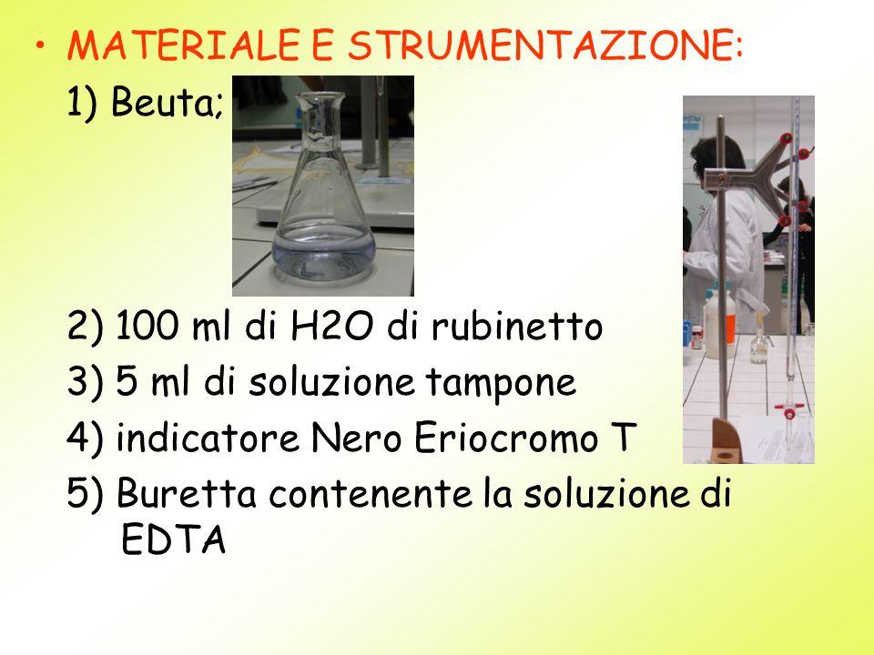 MATERIALE E STRUMENTAZIONE: 1) Beuta; 2) 100 ml di H2O di rubinetto 3) 5 ml di soluzione tampone 4) indicatore Nero Eriocromo T 5) Buretta contenente